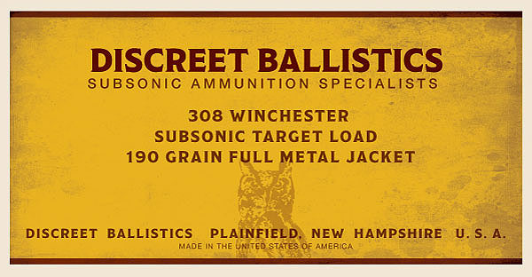 308 Winchester Subsonic Target Load 190 Grain Full Metal Jacket