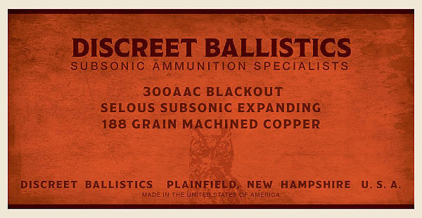 300AAC Blackout Selous Subsonic Expanding 188 Grain Machined Copper